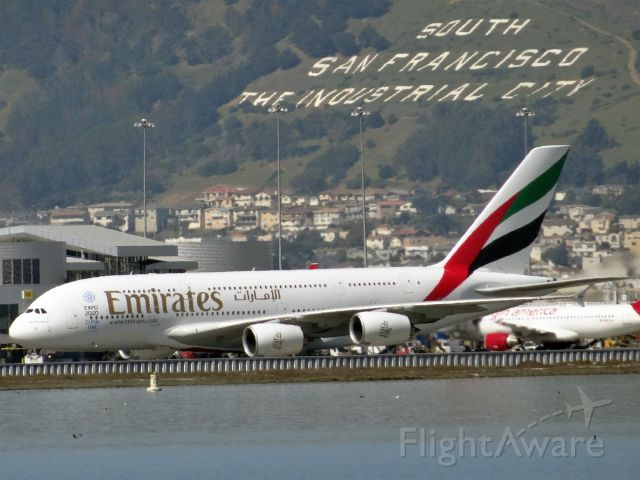 Airbus A380-800 (A6-EOC) - 20150306-130327.jpg<br />Airbus A380-800 (quad-jet) (H/A388/L) at KSFO<br />A6-EOC, Age: 0.7 Years<br />Airbus A380-800 (quad-jet) (H/A388/L)<br />Airline: Emirates, Engines: 4x GP7200