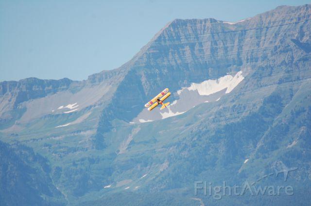 Boeing PT-17 Kaydet (N1387V) - CAF Utah Stearman over Mt. Timpanogos Utah.