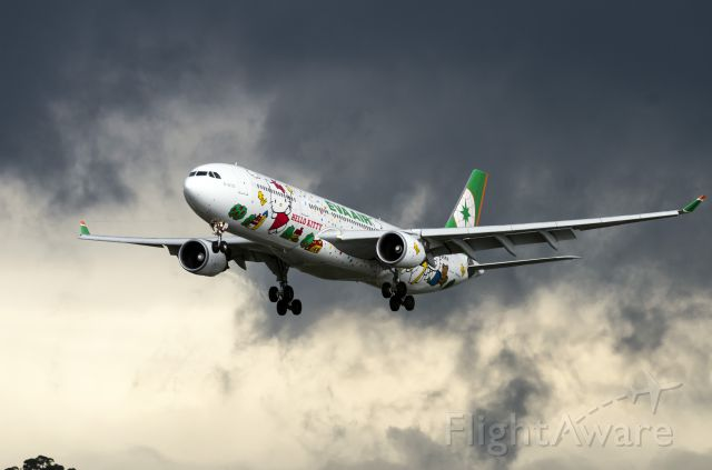 Airbus A330-300 (B-16331) - EVA Air's A330 approaching RCSS rwy 28, cloudy sky made a natural high contrast photo
