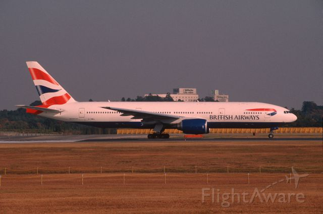 Boeing 777-200 (G-YMMJ) - Departure at Narita Intl Airport Rwy16R on 2001/11/23