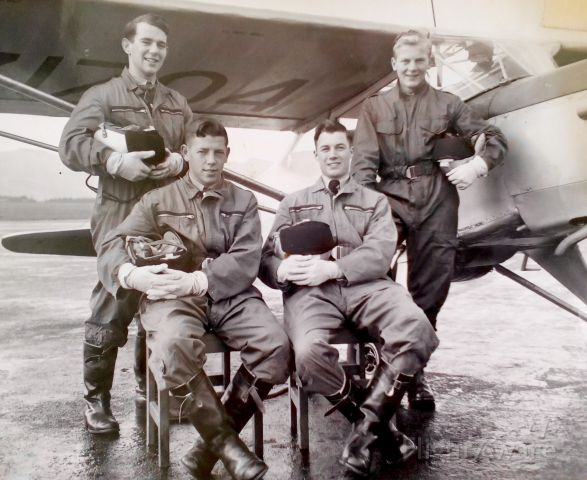 — — - RNZAF Wigram Flying School,1961.br /ATC Flying Scholarship trainees for Solo on Austers.br /All dressed to kill..but no parachutes!!