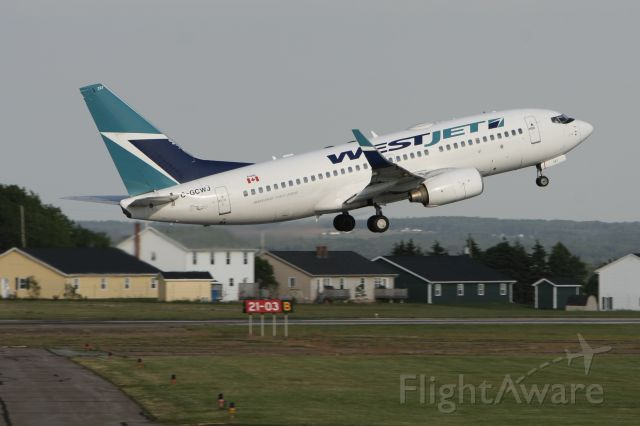 Boeing 737-700 (C-GCWJ) - July 4, 2010 - departed from Charlottetown, Prince Edward Island