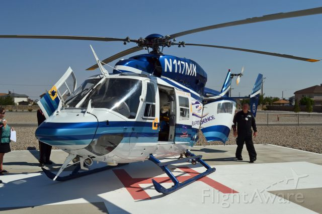 NUSANTARA NBK-117 (N117MK) - A state-of-the-art twin engine MBB/Kawasaki Eurocopter BK-117 helicopter operated by NativAir 36 provides fast emergency care for critical patients at Sierra Providence East Medical Center. This helicopter is designed and fully equipped as a flying intensive care unit within a 150 mile radius. The Medevac BK117 will be staffed with a pilot, a flight nurse and paramedic 24 hours a day and they'll also have their own mechanic to maintain the chopper.