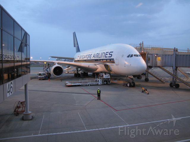 Airbus A380-800 (9V-SKC) - SQ12 being serviced at Gate 45 Narita, Tokyo Japan  prior to departing for LAX April 19, 2012