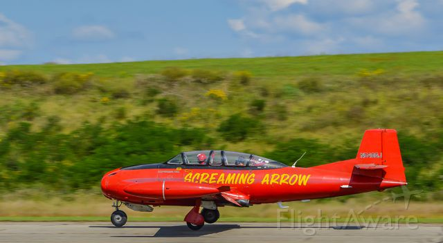 """N5486J — - """"Screaming Arrow"""" on landing roll for the 2017 Vinton County Air Show."""