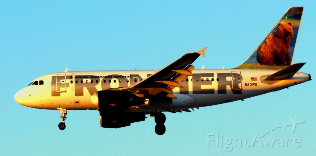 """Airbus A318 (N801FR) - """"Grizzley"""" Lands in the Western sunset on 30L"""