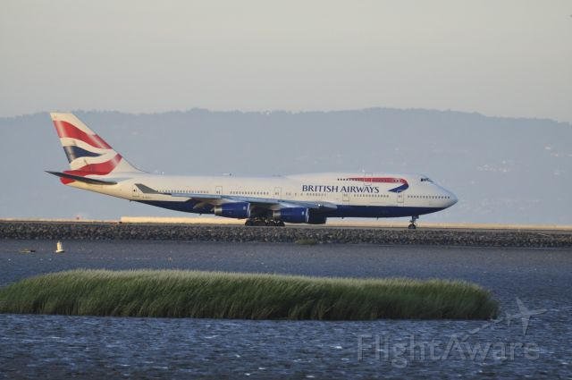 Boeing 747-200 (G-CIVJ) - Flight 286 taxiing down to the take off end of Runway 28L