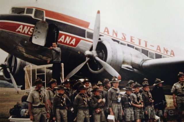 Douglas DC-3 — - 1st Flinders Island scouts ready to depart Flinders for Launceston for a camp . Unidentified Ansett-ANA DC3. circa 1962