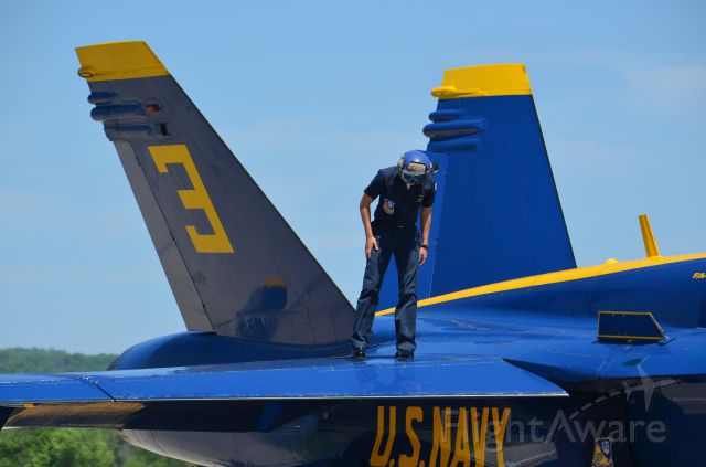 McDonnell Douglas FA-18 Hornet — - Deke Slayton Airfest June 2014. Ground crew doing post performance check. Thank goodness for the people on the ground who keep us pilots in the air!