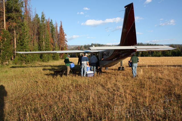 — — - Norman Islander at Chamberlain Basin airstrip, Idaho.