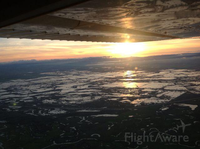 — — - Sunset over Hilmar California