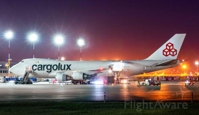 Boeing 747-200 (LX-JCV) - Cargolux's white livery parked at Apron IX at Calgary International.