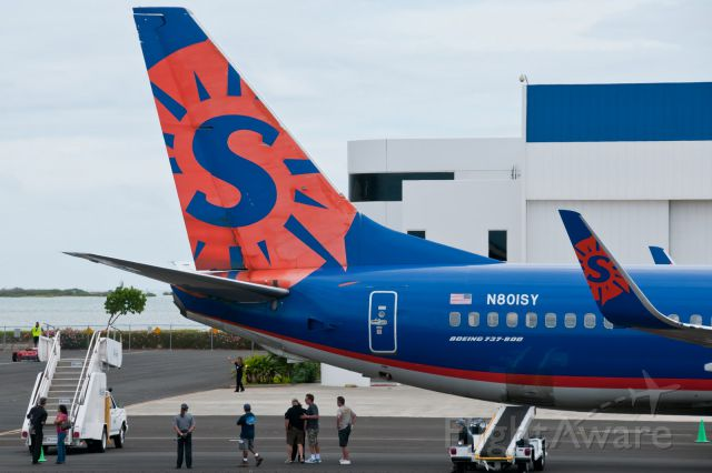 Boeing 737-800 (N80ISY) - sun country airlines beign maintnanced airport unknown
