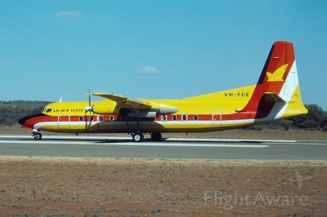 VH-FCE — - AIR NEW SOUTH WALES - FOKKER F-27-500 FRIENDSHP - REG : VH-FCE (CN 10558) - BROKEN HILL NSW. AUSTRALIA - YBHI (24/4/1983) 35MM SLIDE CONVERSION USING A LIGHTBOX AND A NIKON L810 DIGITAL CAMERA IN THE MACRO MODE.