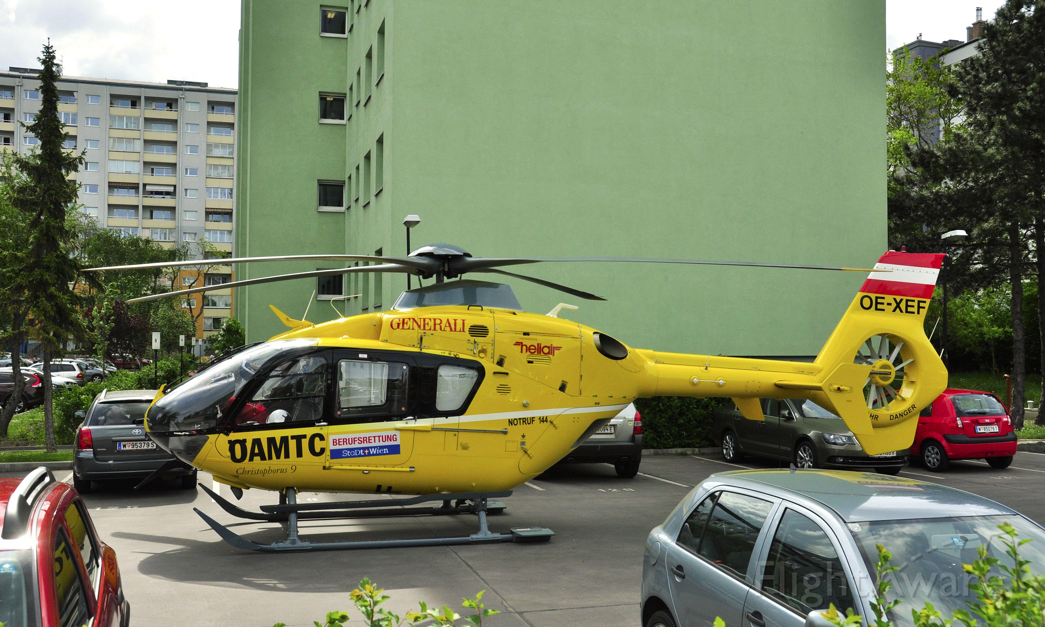 Eurocopter EC-635 (OE-XEF) - Christophorus Flugrettungsverein (ÖAMTC) Eurocopter EC135 T1 OE-XEF in a residential parking in Vienna town
