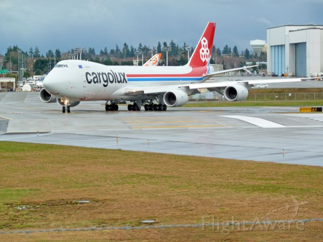 N5573S — - 2-15-2011 Boeing 747-8 freighter, N5573S, taxing to take-off, testing at Paine Field, Everett, Washington   ||||  Photo by Bruce McKinnon