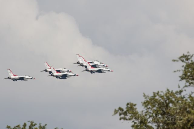 — — - Thunderbird flyover to salute first responders. This was their path southbound roughly over Lamar Blvd.