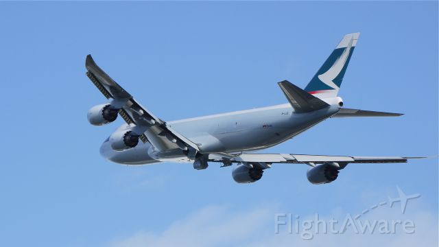 BOEING 747-8 (B-LJE) - CPA3337 departs runway 34L on its delivery flight to VHHH/HKG on 10/31/11.