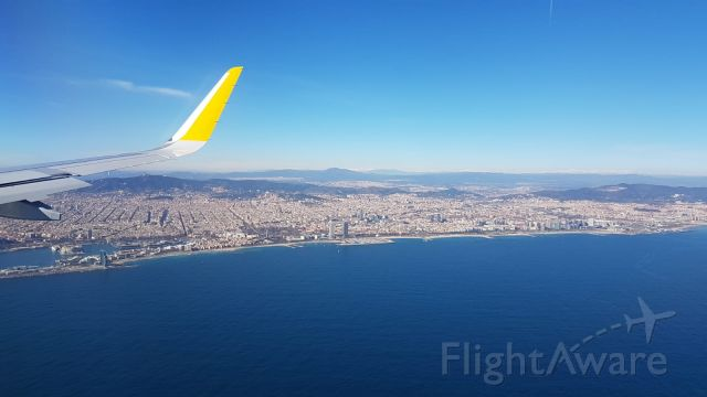Airbus A320 (EC-NAZ) - Flight VY1429 from BIO (Bilbao) on finals into BCN (Barcelona) on February 4th, 2019. Thanks to my good friend, Xavi, who took the photo on my behalf.