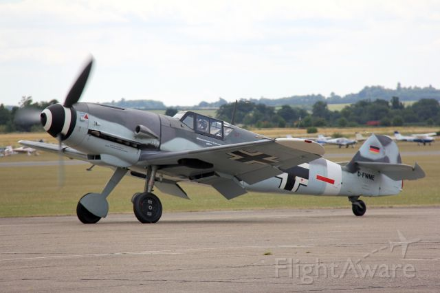 """D-FWME — - Bf(Me)109G-4 """"Red Seven""""<br />Manufactured in 1950, Spain<br />Photo: 11.07.2015"""