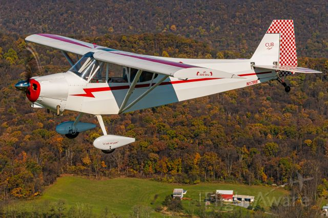 Piper NE Cub (N17RB) - Clipped Wing Cub N17RB  passing over a farm in the late fall of Pennsylvania.