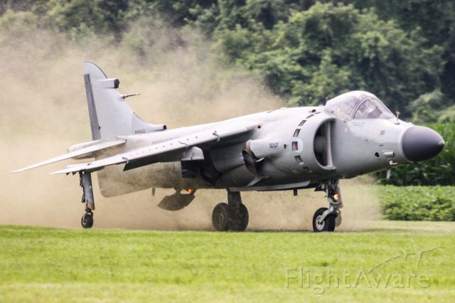 """Cessna Skylane (N94422) - LtCol (ret) Art Nalls lands his Sea Harrier on the grass at the 2015 """"Greatest Show on Turf"""""""