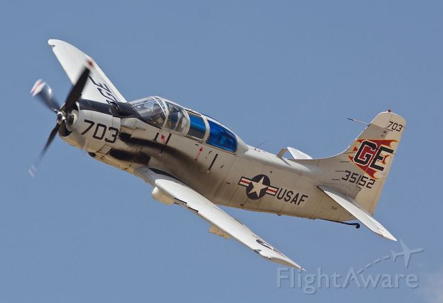 """Douglas AD Skyraider (N65164) - Cavanaugh Flight Museums EA-1E during the Vietnam rescue reenactment at the 2018 Dyess Big Country Air & Space Expo. Earlier this airshow season this bird had Navy on the fuselage, she now reads USAF. I wonder if there was done since this show was on a USAF base or is part of future plans to fully repaint this Spad in USAF colors? (please view in """"Full"""" for best image quality)"""