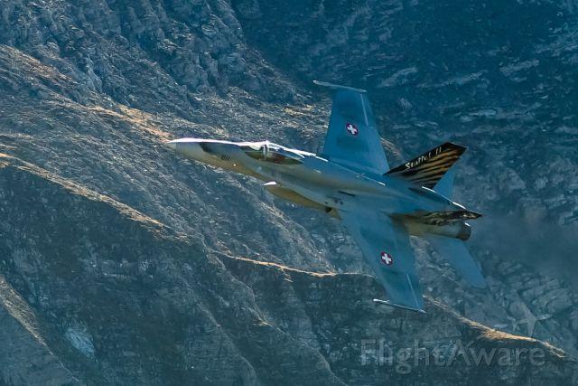 McDonnell Douglas FA-18 Hornet (J5011) - low pass over Axalp training ground