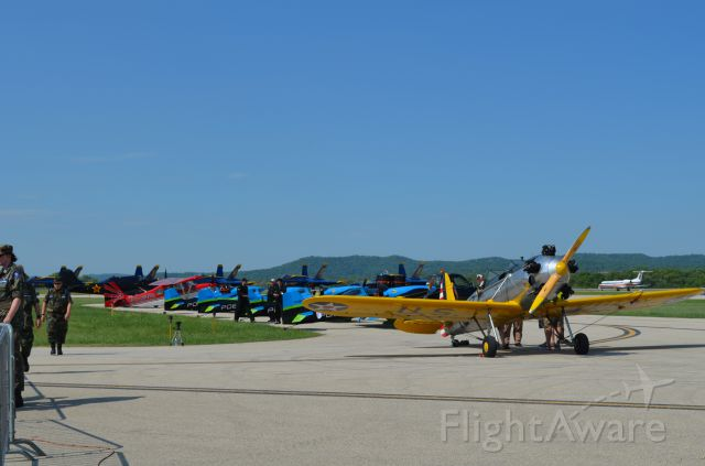 — — - Deke Slayton Airfest June 2014. The gang is all here! Most performers lined up. Ryan PT-22 in front followed by Vanguard Squadron, Bill Blank