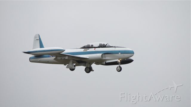 """Lockheed T-33 Shooting Star (N416X) - BOE16X on final to runway 16R on 12/15/11. This is one of the Boeing """"chase"""" planes."""