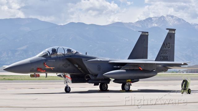"""McDonnell Douglas F-15 Eagle (92-0366) - USAF McDonnell Douglas F-15E """"Strike Eagle,"""" assigned to the 391st Fighter Squadron, parked at Colorado Springs Airport"""