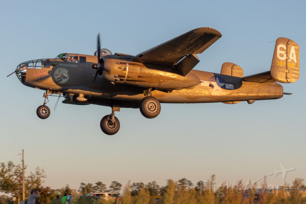 """North American TB-25 Mitchell (N898BW) - The Tri-State Warbird Museum's B-25 """"Yankee Doodle"""" on a very short final for runway 22 to end a perfect Friday night."""