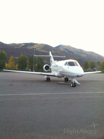 Raytheon Hawker 800 (N9292X) - Fall morning on the ramp in Aspen