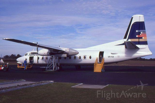 FAIRCHILD HILLER FH-227 (VH-FCB) - Fokker F27-500 VH-FCB of Ansett at Coffs Harbour Airport in 1984.