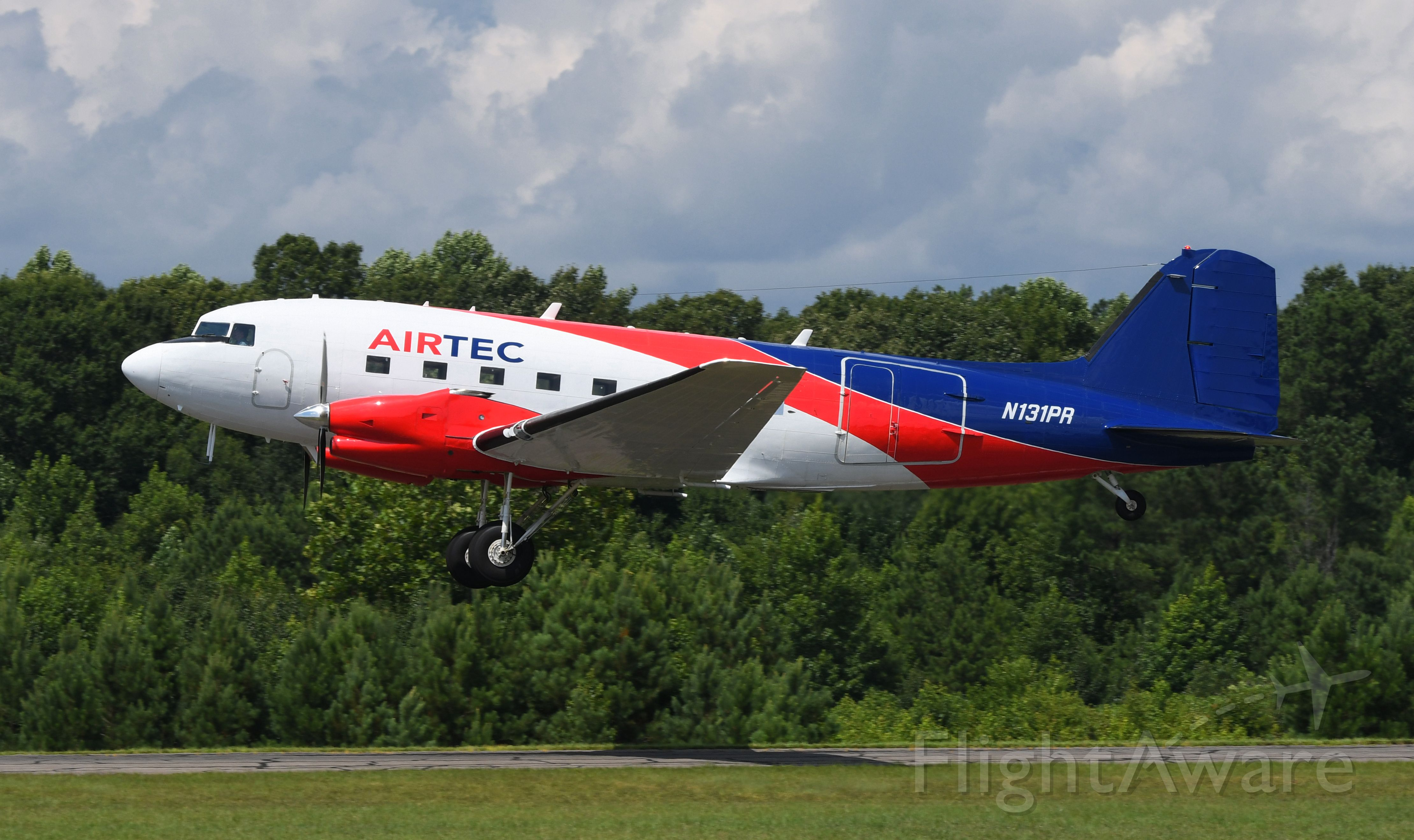 N131PR — - At St.Marys County MD Regional Airport.  BT-67/DC-3/C-47 c/n 13342 on take off 7-26-2018.  ex-Forest Service aircraft.