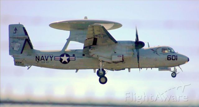 """— — - E-2C Group 2 Plus of VAW-124 """"Bear Aces"""" performing a touch-n-go at Myrtle Beach International Airport (KMYR) in Myrtle Beach, SC on 2/25/2019."""