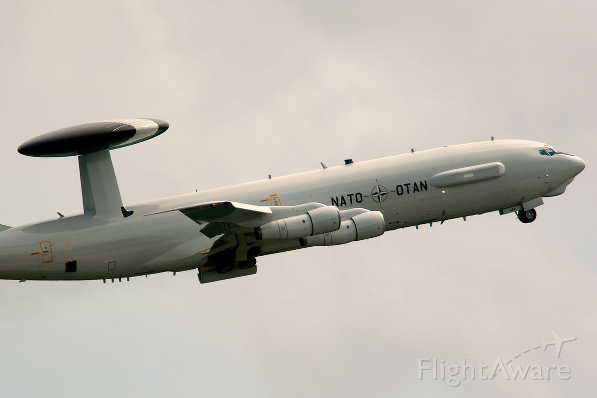 Boeing E-3F Sentry (LXN90444) - Taking off just before the thunderstorm arrives