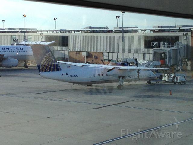 de Havilland Dash 8-300 (N838CA) - N838CA at Philadelphia International Airport (KPHL) on October 1, 2012. N838CA is at gate D1 in this picture.