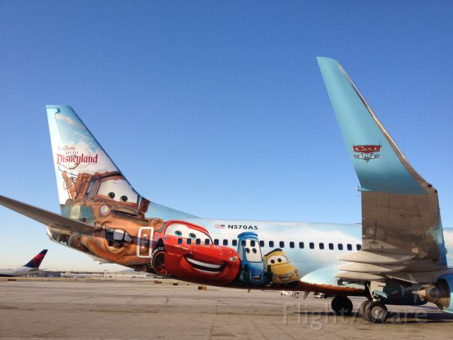 Boeing 737-700 (N570AS) - The Cars parked in the impound area.