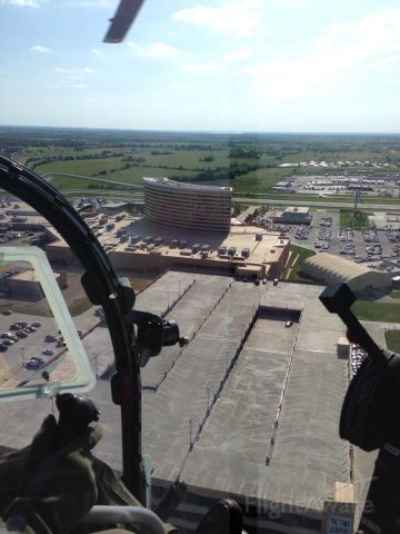 — — - Choctaw Casino viewed from the cockpit of a Bell 47G taking off from KDUA
