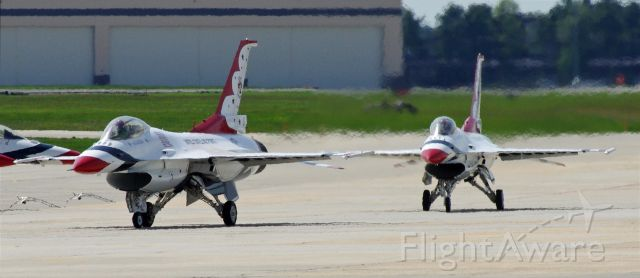 Lockheed F-16 Fighting Falcon — - McGUIRE AIR FORCE BASE-WRIGHTSTOWN, NEW JERSEY, USA-MAY 11, 2014: The USAF Thunderbirds prepare for takeoff and the start of their airshow.