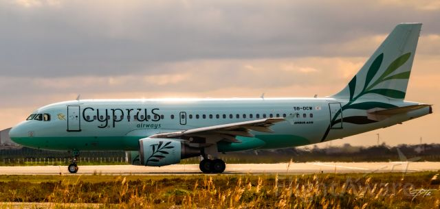 Airbus A319 (5B-DCW) - Cyprus Airways catch the summer setting sun before takeoff