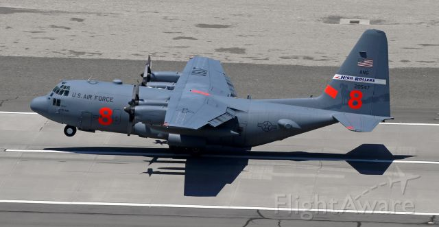 Lockheed C-130 Hercules (92-0547) - Flashback two years ago to 2019 ~~br /A NevANG High Rollers Hercules is rotating away from 16L.