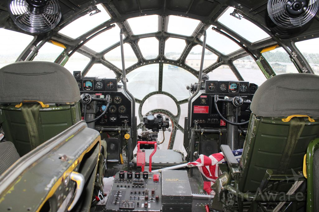 """Boeing B-29 Superfortress (NX529B) - """"Fifis"""" flight deck while on the ramp at Tom Sharp Jr. Field, Huntsville Executive Airport, Meridianville, AL - May 25, 2018."""