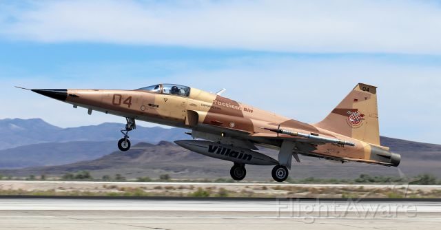 Northrop RF-5 Tigereye (N646TA) - Tactical Air's N646TA, a Northrop F-5E, flares to touch down on NAS Fallon's 31L yesterday afternoon.<br />This appears to be the first pic of N646TA to be posted into FA's photo gallery.