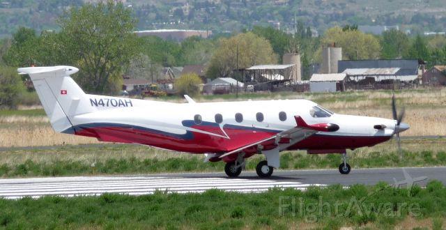 Pilatus PC-12 (N470AH) - N470AH departing runway 13 KPVU. May 18, 2008