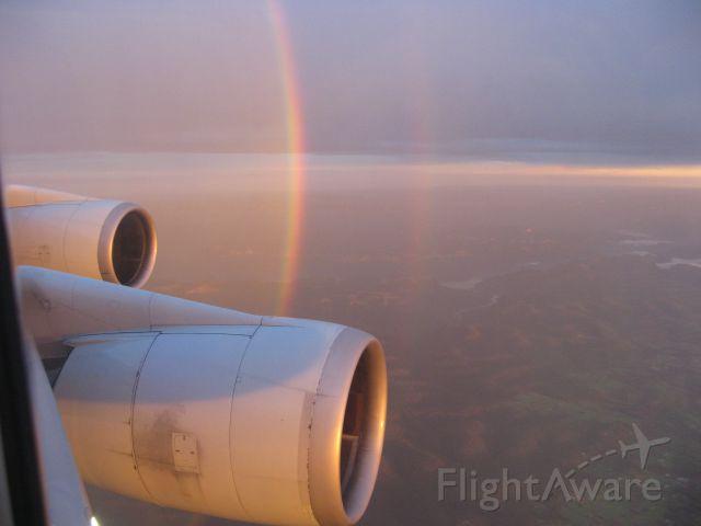 Boeing 747-200 — - Sunset and rainbow. Heading south towards Bangkok.