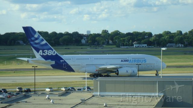 Airbus A380-800 (F-WWDD) - Taxiing at KMKE. Ready to depart back to Toulouse. Was at KMKE to pick up employees, refuel, and customs.