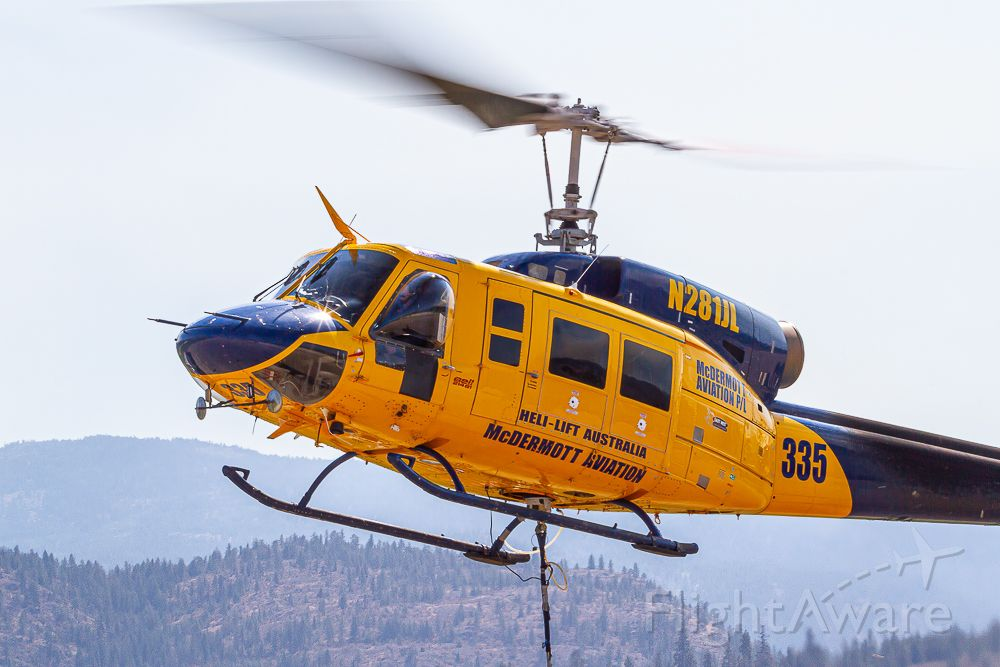 Bell BigLifter (N281JL) - Bell 214 B-1 Working the wildfire line in Canada.