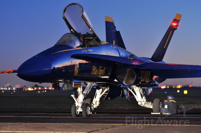 McDonnell Douglas FA-18 Hornet — - Blue Angels Boeing F/A-18 Hornet at sunrise before the 2009 Wings over Houston Airshow at Ellington Field in Houston, TX.